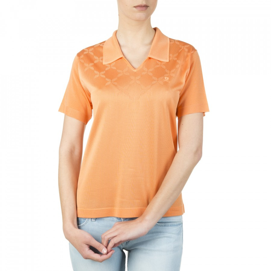 T-shirt femme motif graphique col polo Inna orange 1340 lobster