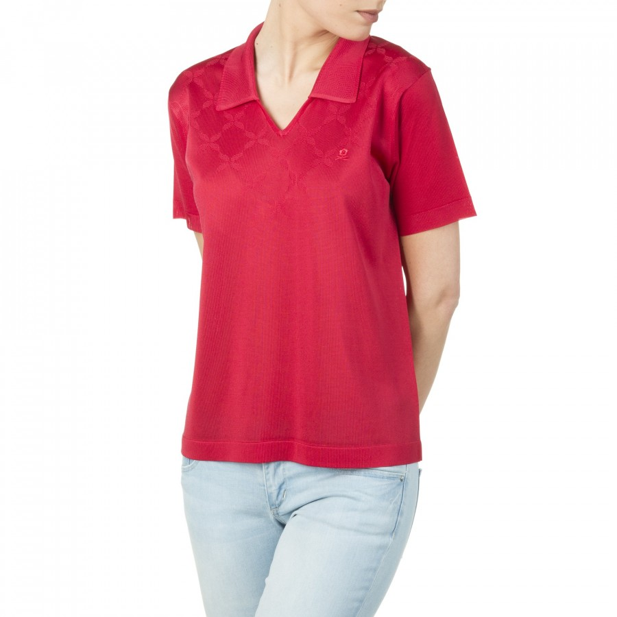 T-shirt femme motif graphique col polo Inna rouge 1762 cherry
