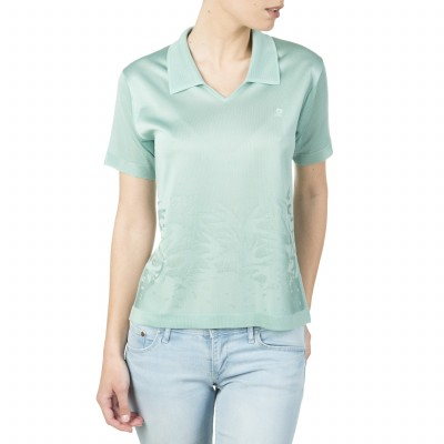 Polo collar T-shirt for women with a bird motif in Fil Lumière Irène
