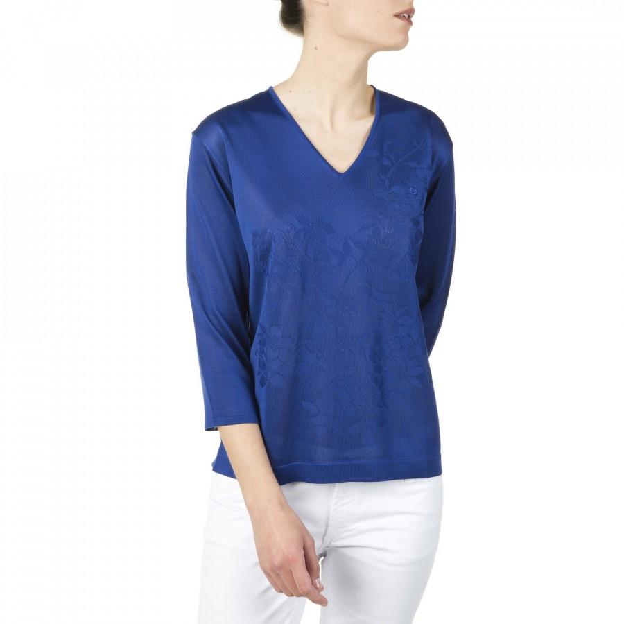T-shirt col V manches longues en Fil Lumière Darielle 3355 paso Bleu Foncé