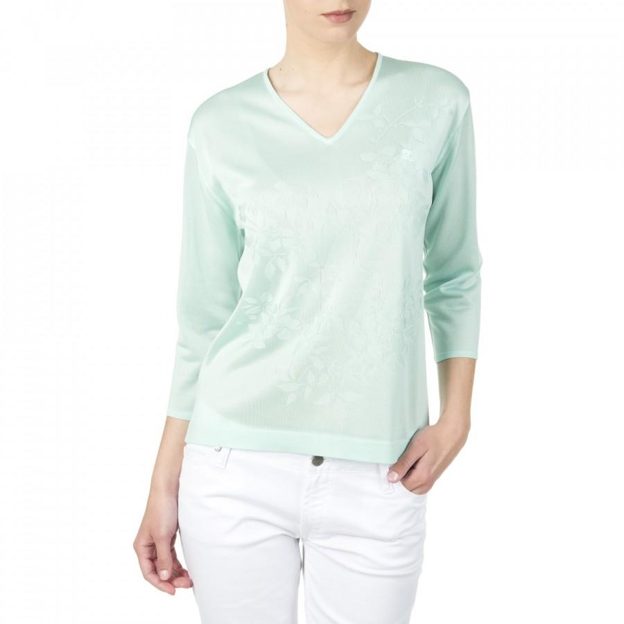 T-shirt col V manches longues en Fil Lumière Darielle 4089 sumatra Vert Clair