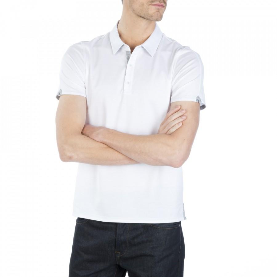 Polo homme bicolore manches courtes Fabio blanc