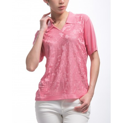 Women's flower pattern V-neck polo-shirt Kheira