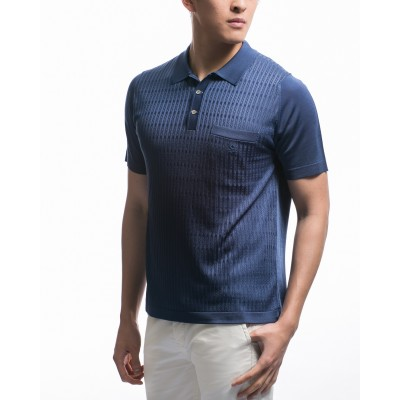 Men's short-sleeves Fil Lumière polo-shirt with pattern Kelvin