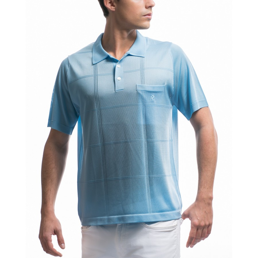 Men's cross stripe pattern Fil Lumière polo-shirt Korentin