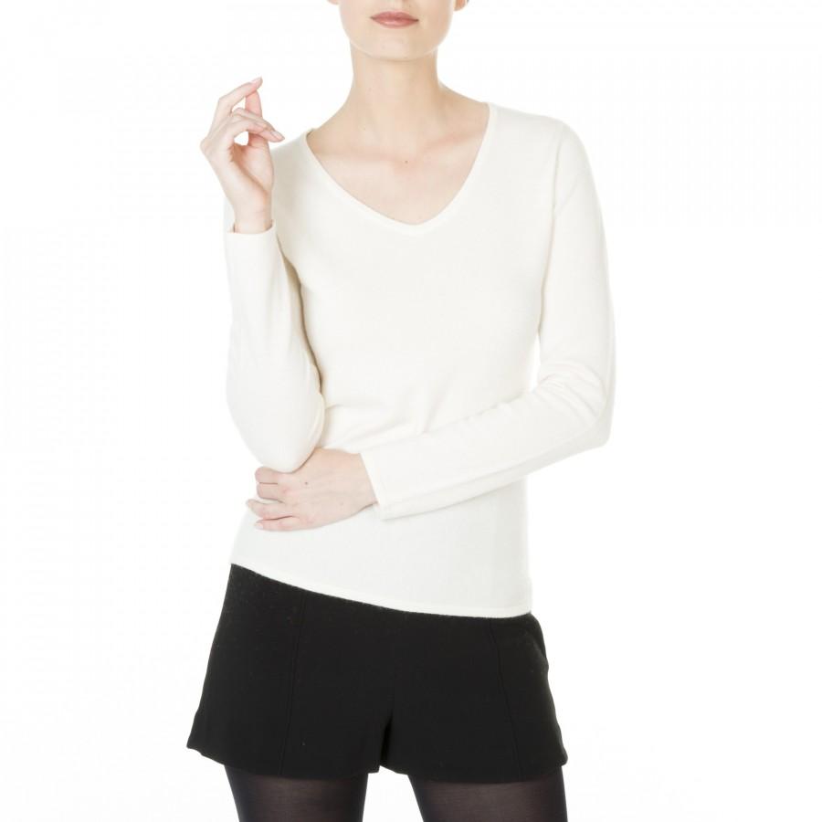 Pull col V cachemire femme Hama 5635 Blanc - 02 Blanc
