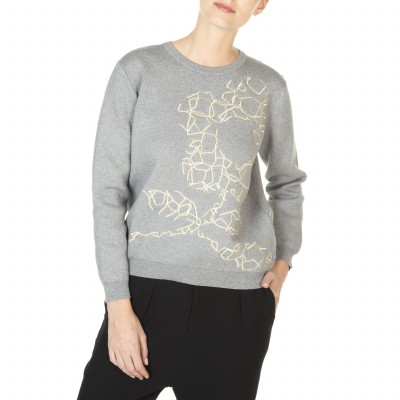 Embroidered flower motif sweater made from cotton and cashmere Joyce