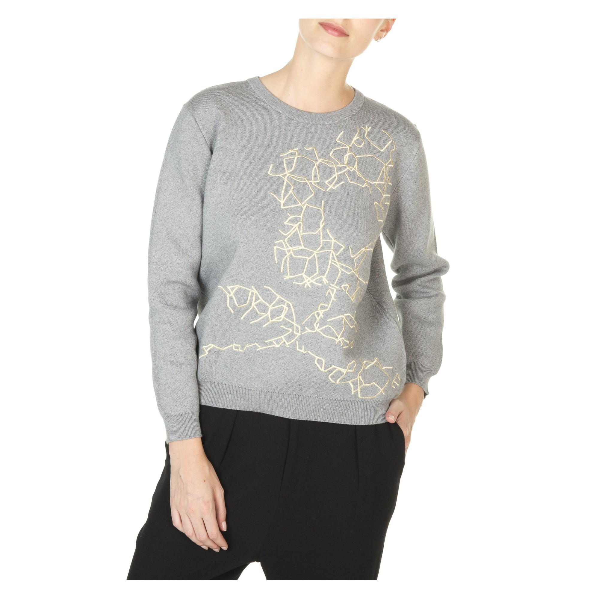 a869e57a61 logo flower sweater made from cotton and cashmere women