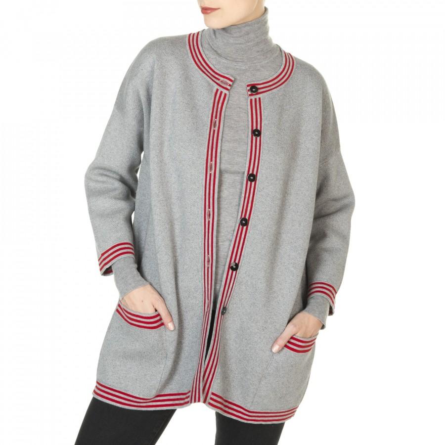 Manteau bicolore en coton et cachemire Julie