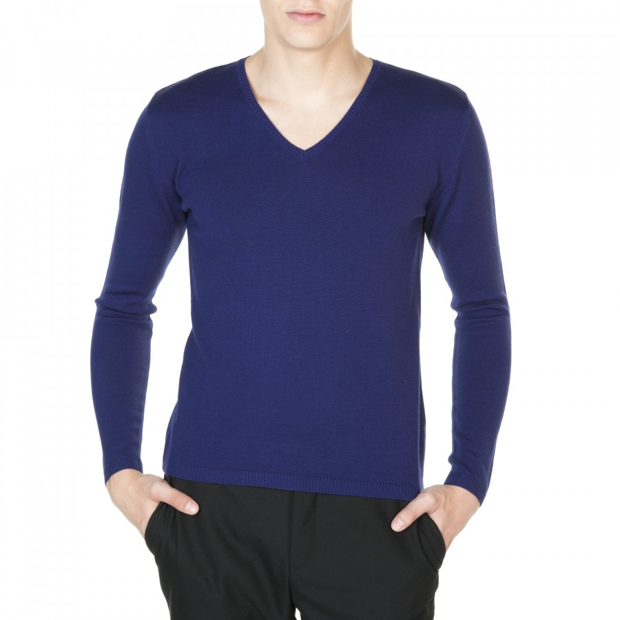 Man V collar sweater 100% wool Emilien