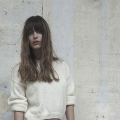 Short sweater made of mohair Montagut x Elise Hameau