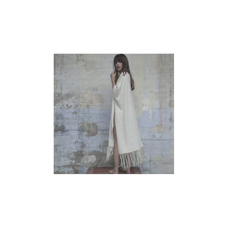 Poncho en cachemire Collection Capsule 5635 blanc - 82 Ecru