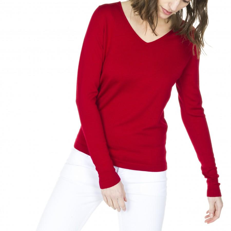 Pull laine col V Heloïse 5947 coccinelle - rouge fonce