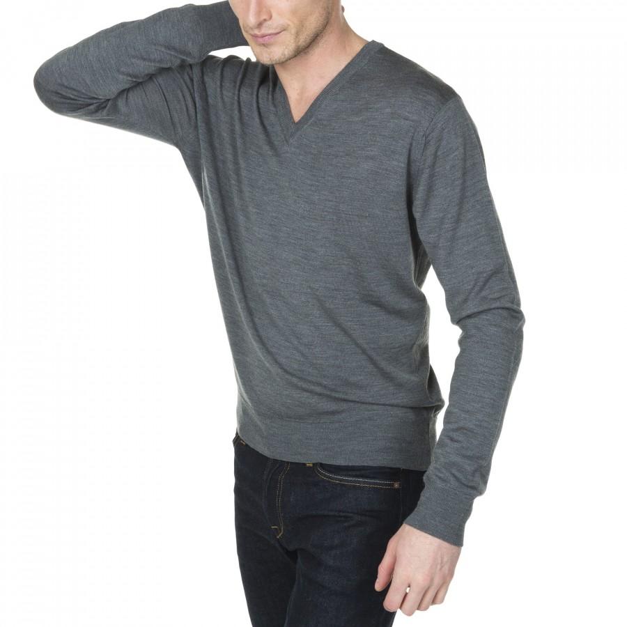 Pull col V en laine chinée avec logo à la hanche Juliano 9367 gris chine fonce - 09 gris moyen
