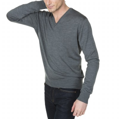 Man V collar sweater with logo Montagut Juliano
