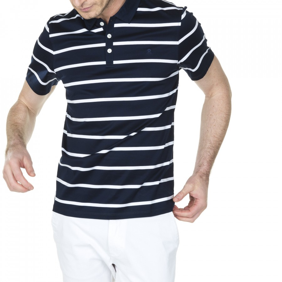 100% cotton striped polo with logo Hélie