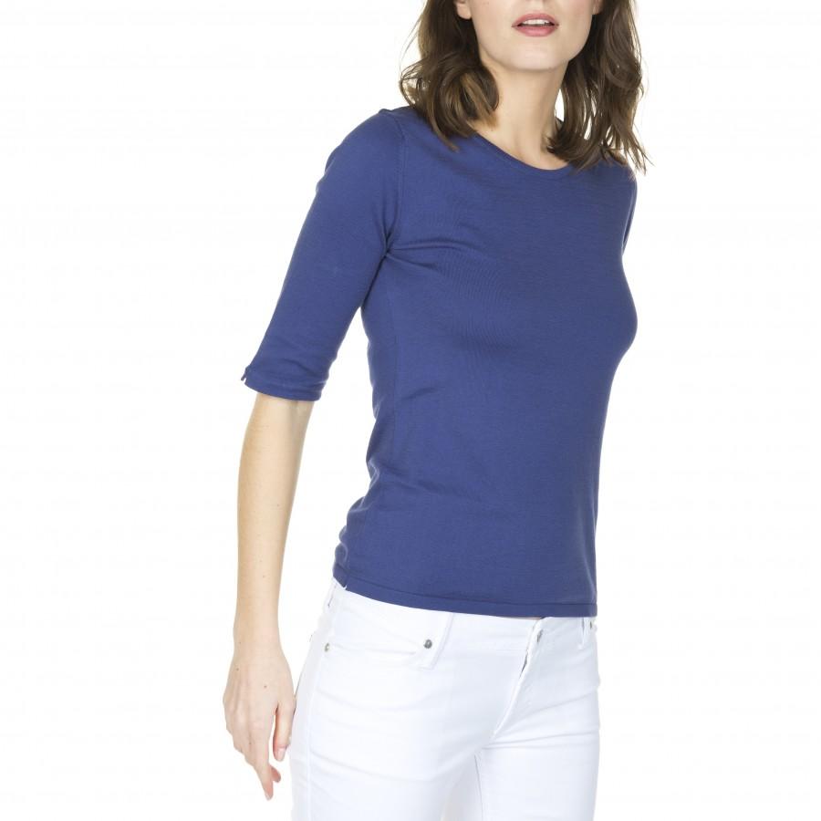 T-Shirt coton femme manches coudes Fedora 5355 fregate - Bleu foncé