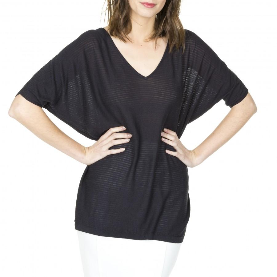 T-shirt manches courtes en soin lin Laurène 6011 crépuscule- 01noir