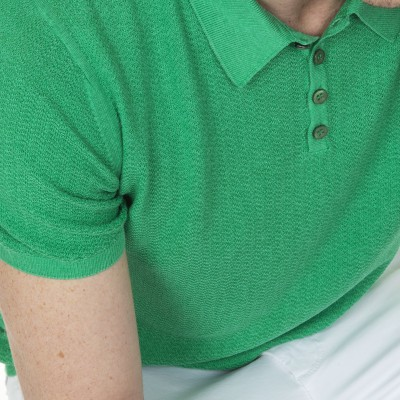 Polo short sleeves in silk and linen Léopold