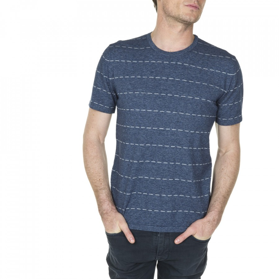 T-shirt rayures pointillés en coton Lucien 6042 flot - 06 bleu moyen
