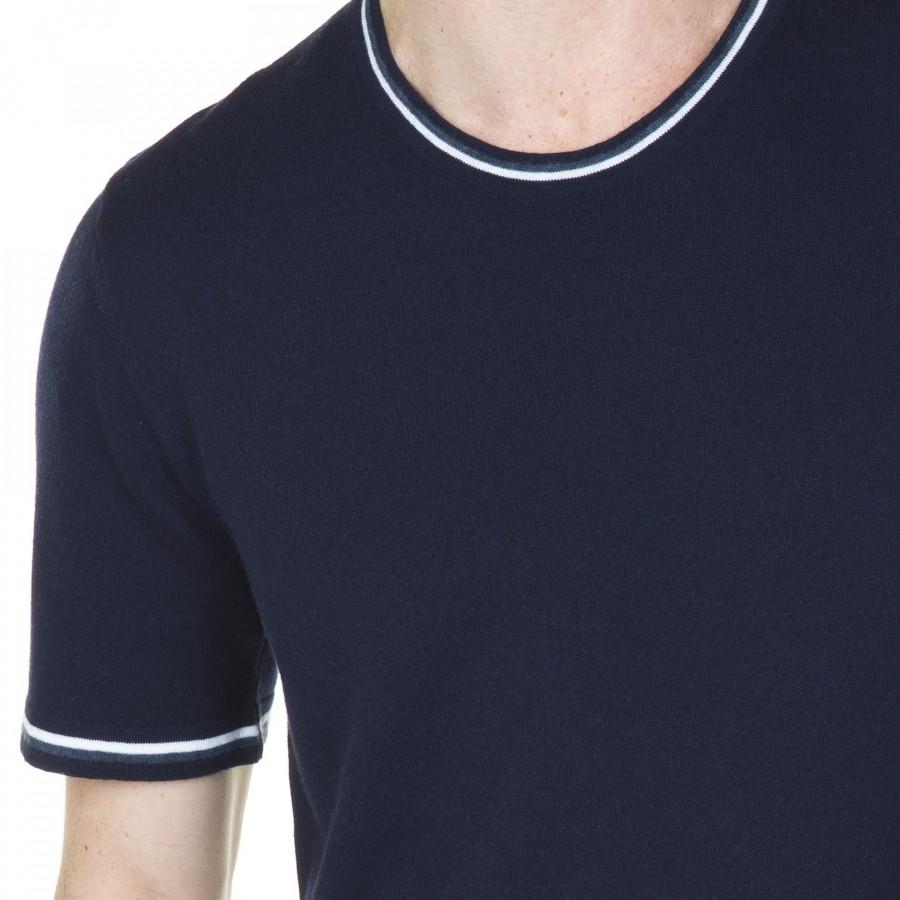 T-shirt oversize en coton et laine Liam 6006 marine flot blanc - 05 bleu marine