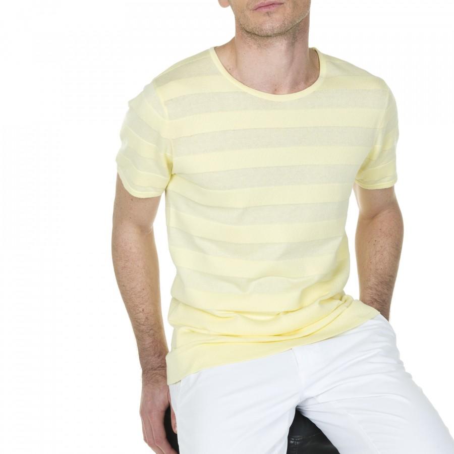 T-shirt à rayures en coton Ludolphe 6061 jasmin - 08 jaune