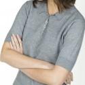 Polo manches courtes en coton cachemire Leslie 6012 gris chine foncé-09 gris moyen