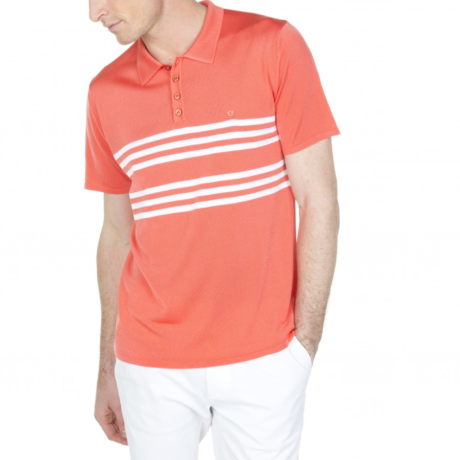 Polo manches courtes en polyamide Lino 6070 sorbet- 15 orange
