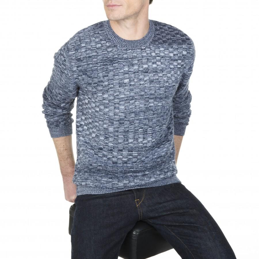 Pull ras de cou en coton et laine Lucas 6006 marine,flot,blanc- 05 bleu marine