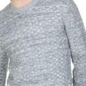 Pull ras de cou en coton et laine Lucas 6007 gris chine clair blanc- 09 gris moyen