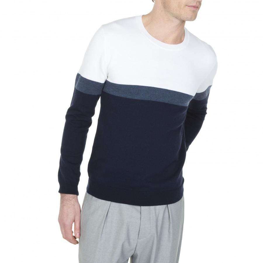 Pull ras de cou en coton et laine Luc 6006 marine flot blanc- 05 bleu marine