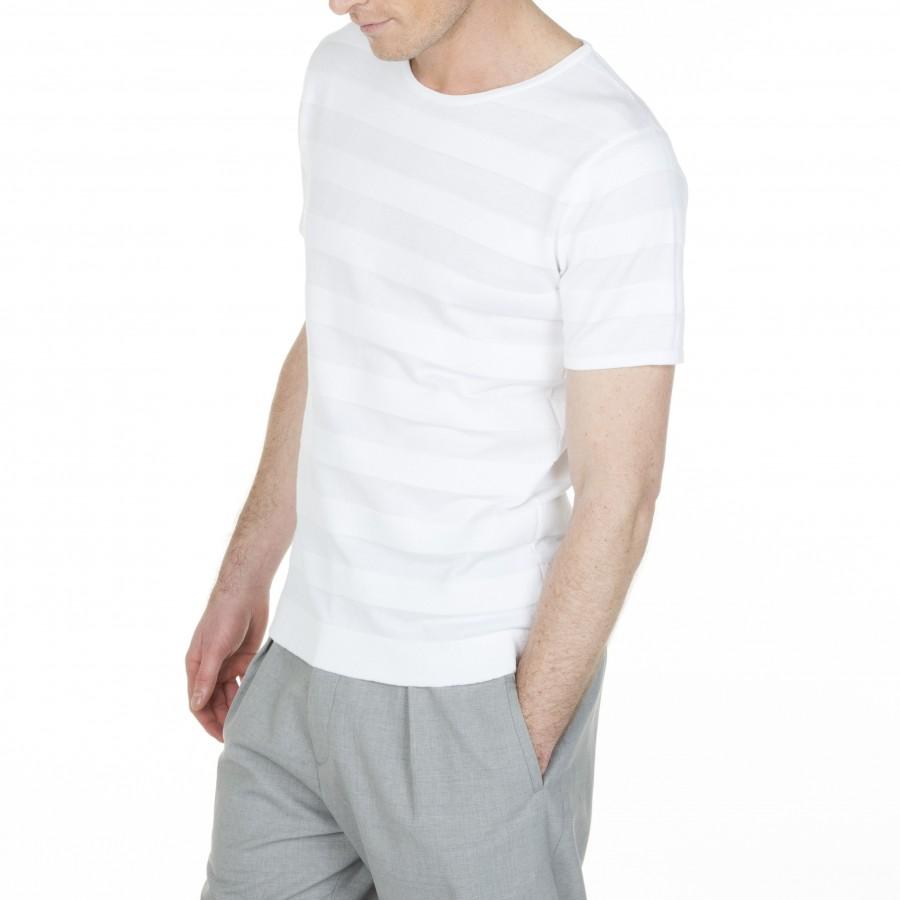 T-shirt à rayures en coton Ludolphe 6000 blance- 82 écru