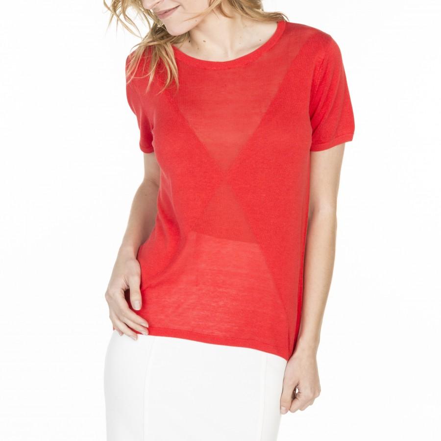 T-shirt manches courtes en soie lin Luce 6081 berlingot -19 rouge clair