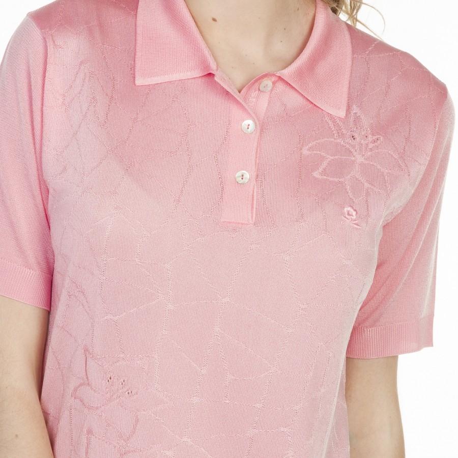 Polo motif géométrique en Fil Lumière Louise 4422 chimere- 24 rose clair