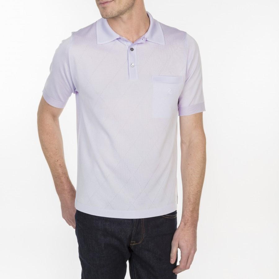 Polo à rayures et losanges en Fil Lumière Luc-Antoine 7090 fluorite - 16 violet clair