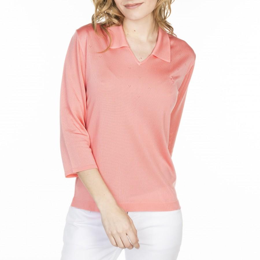 Tshirt col polo en Fil Lumière Lisa 529 melba- 25 rose moyen