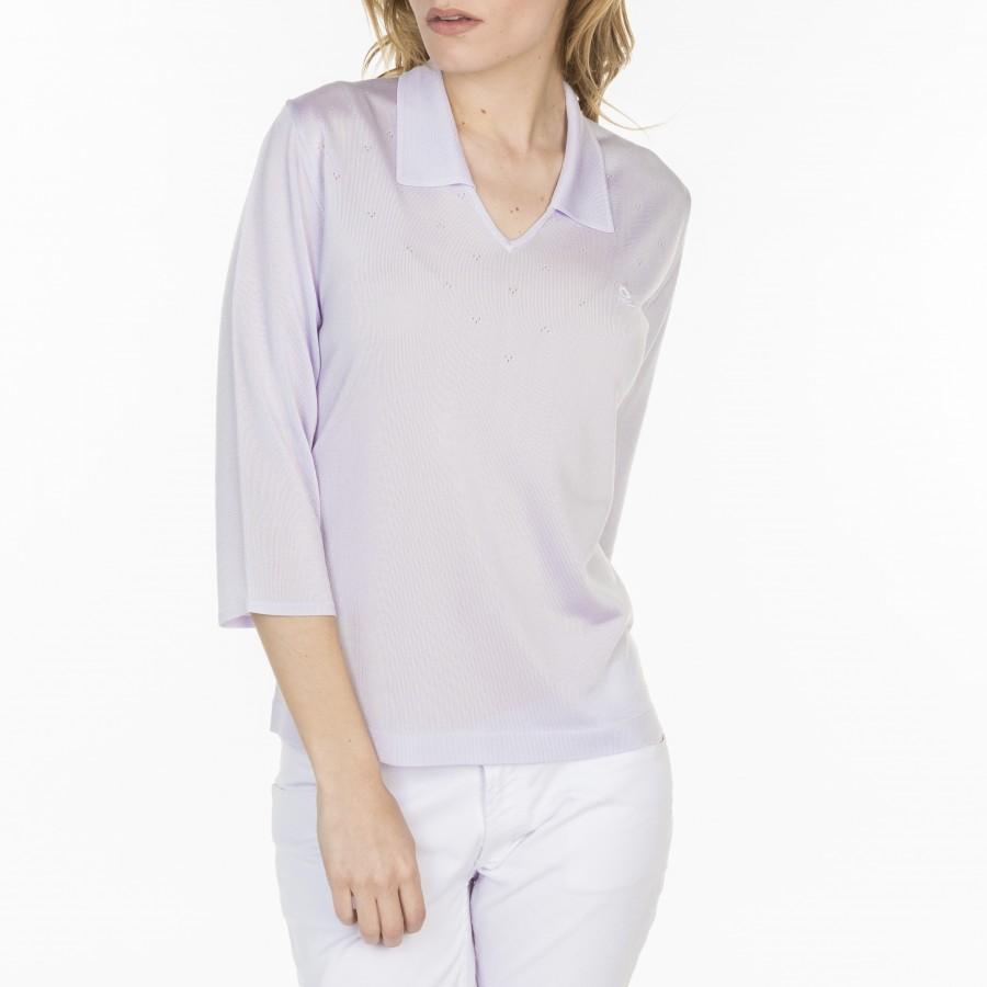 Tshirt col polo en Fil Lumière Lisa 7090 fluorite-16 violet clair