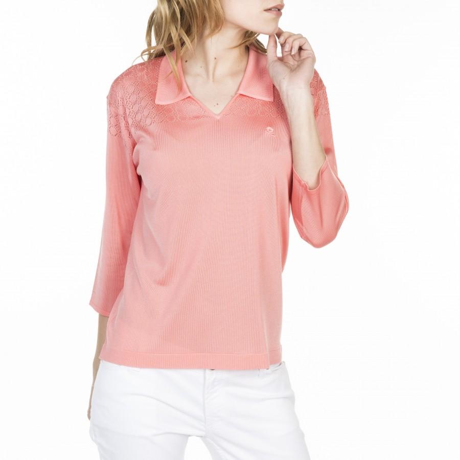 T-shirt col polo en Fil Lumière Lou 529 melba- 25 rose moyen