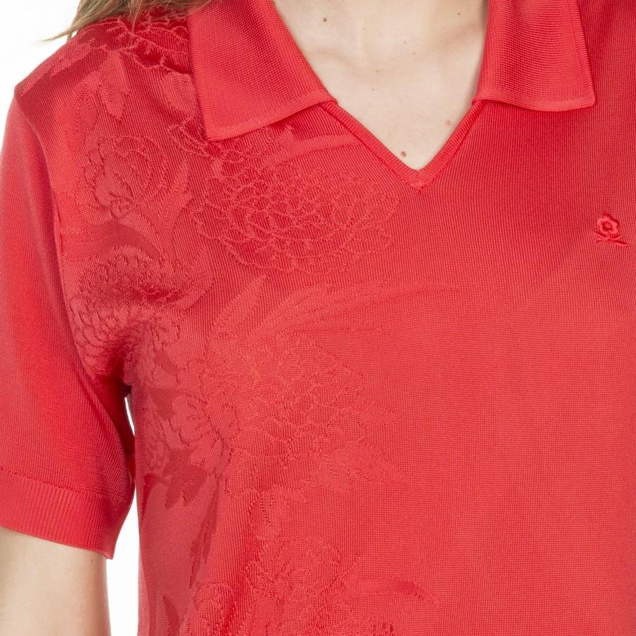Tshirt col polo en Fil Lumière Lydie 6081 berlingot- 19 rouge clair
