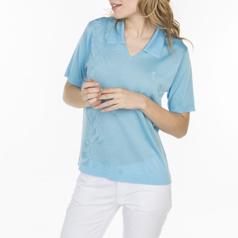 Tshirt col polo en Fil Lumière Lydie 7100 celestial- 04 bleu clair