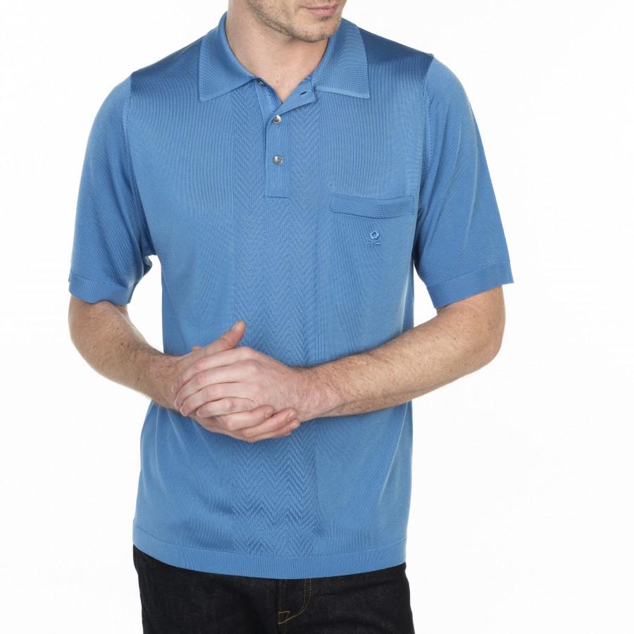 Polo à motif en Fil Lumière Léontin 7110 Cornflower - 06 bleu moyen