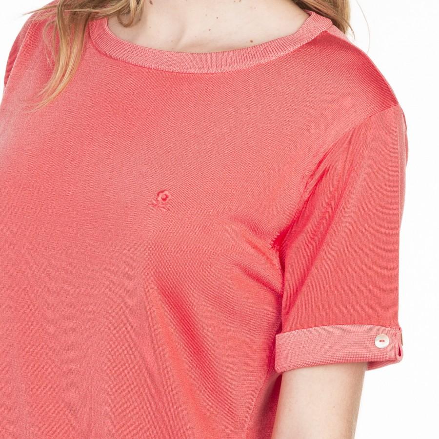 T-shirt uni manches fantaisie en Fil Lumière Laurie 6070 sorbet-15 orange