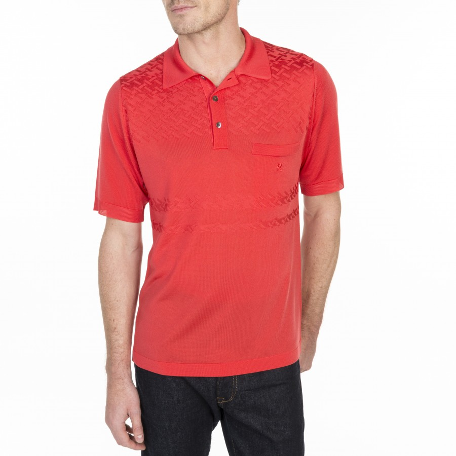 Polo motif croisillon Louis-Eugène 6081 berlingot - 52 rouge