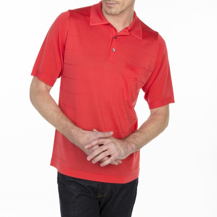 Polo à rayures en Fil Lumière Luc-Olivier 6081 berlingot - 52 rouge