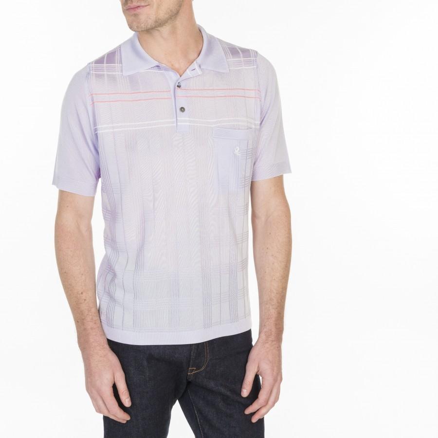 Polo à motif tartan en Fil Lumière Louka 7090 fluorite - 16 violet clair