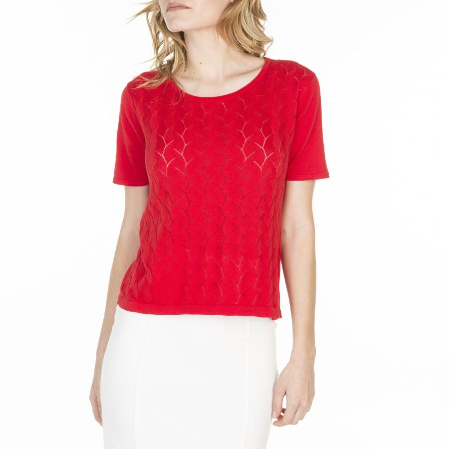 T-shirt manches courtes en coton Louane 6080 grenade- 52 rouge