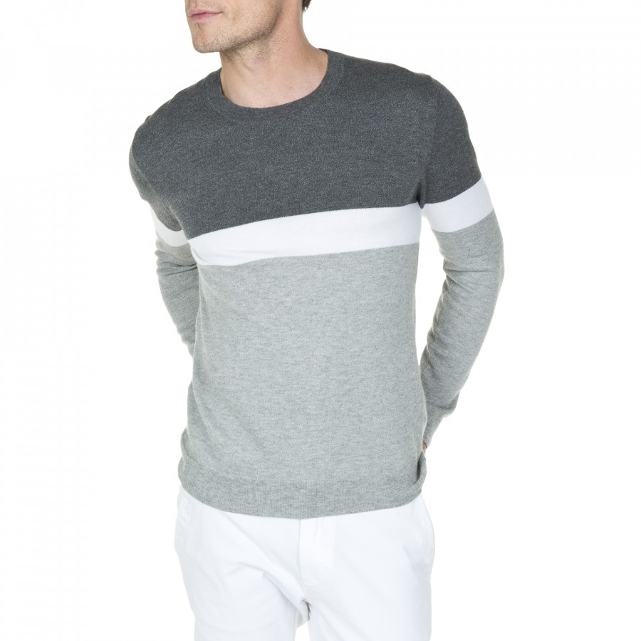 Pull ras de cou en coton et laine Lucas 6007 gris chine clair blanc - 09 gris moyen