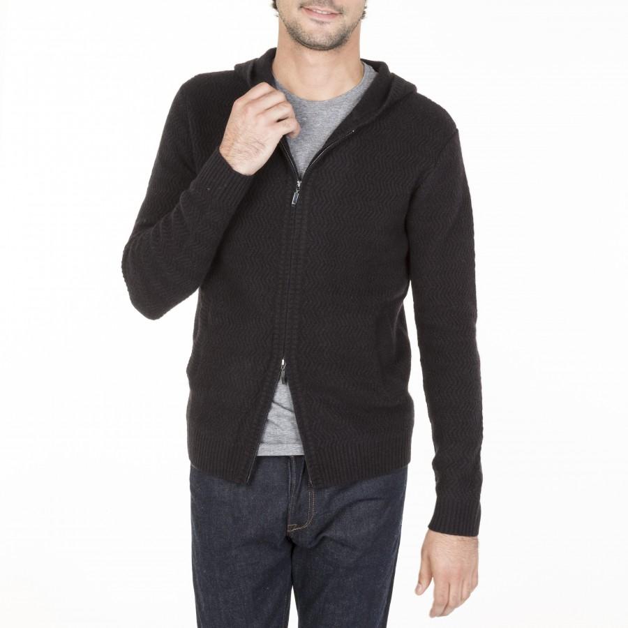 Gilet zippé à capuche en cachemire Maxime 6110 noir-01 noir
