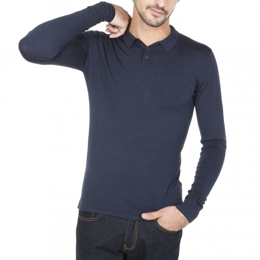 Long sleeved polo shirt in wool and silk Brume