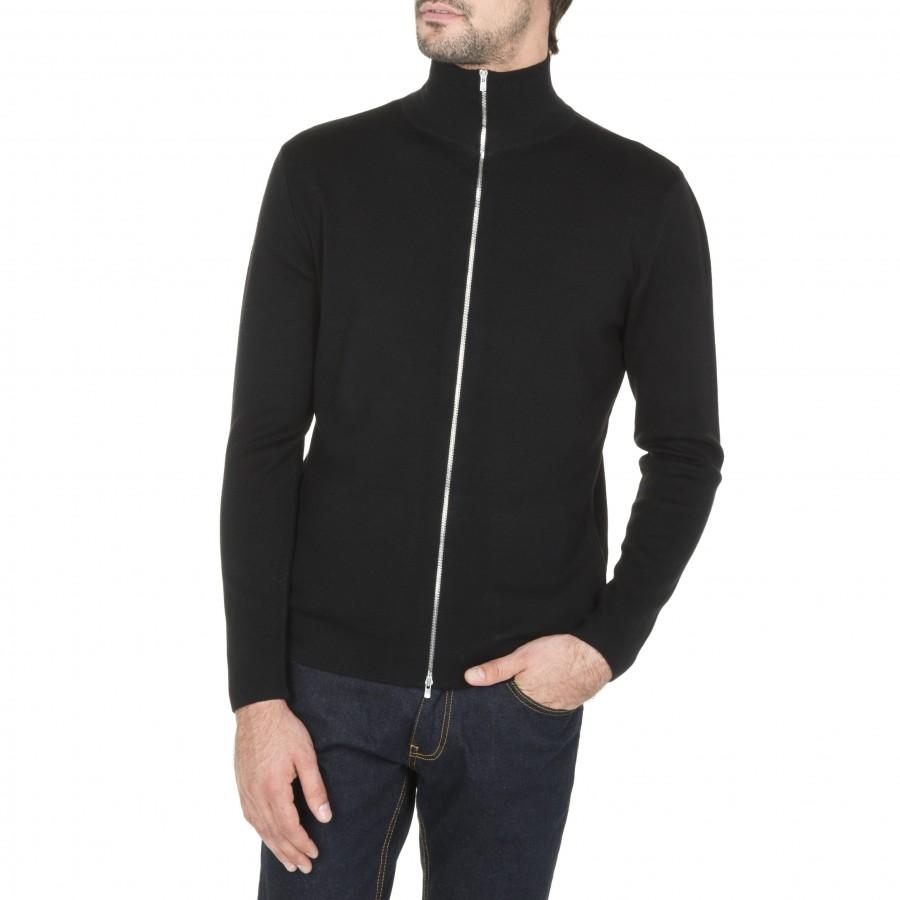 Gilet zippé avec poche en laine Maxence 6110 Noir - 01 noir